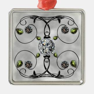 Diseño blanco y negro de la gema adorno navideño cuadrado de metal