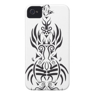 Diseño blanco y negro de la guitarra tribal funda para iPhone 4