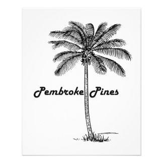 """Diseño blanco y negro de los pinos y de la palma folleto 4.5"""" x 5.6"""""""
