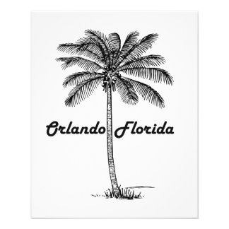 """Diseño blanco y negro de Orlando y de la palma Folleto 4.5"""" X 5.6"""""""