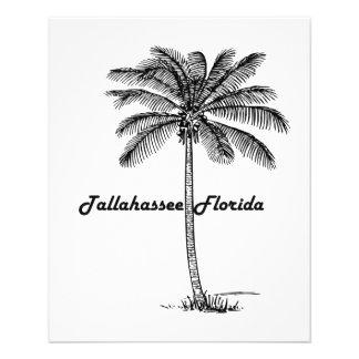 """Diseño blanco y negro de Tallahassee y de la palma Folleto 4.5"""" X 5.6"""""""