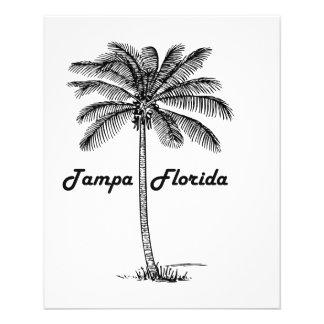 """Diseño blanco y negro de Tampa y de la palma Folleto 4.5"""" X 5.6"""""""