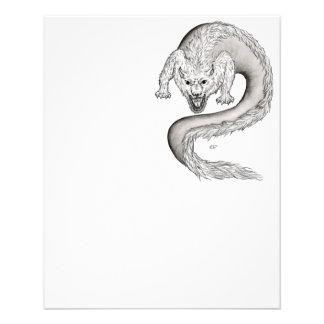 Diseño blanco y negro de Wolfdragon Tarjeton