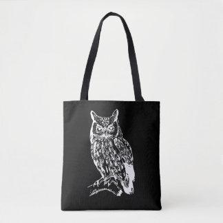 Diseño blanco y negro del búho bolsa de tela