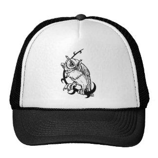 Diseño blanco y negro del búho gorro de camionero