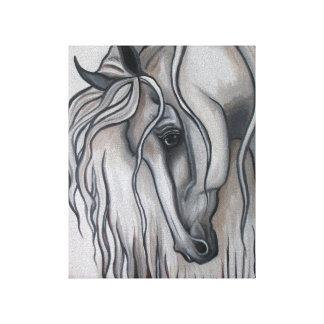 Diseño blanco y negro del caballo andaluz impresión en lona estirada