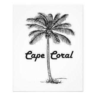 """Diseño blanco y negro del coral y de la palma del folleto 4.5"""" x 5.6"""""""