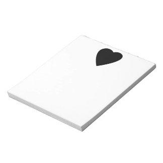 Diseño blanco y negro del corazón del amor blocs de notas
