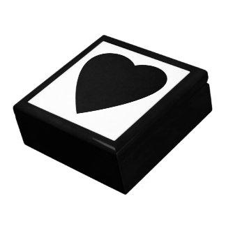 Diseño blanco y negro del corazón del amor caja de joyas