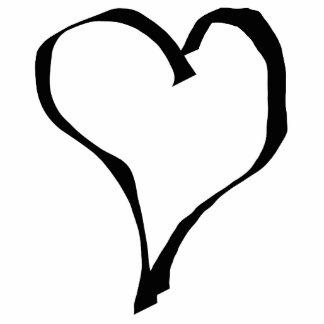Diseño blanco y negro del corazón del amor fotoescultura vertical