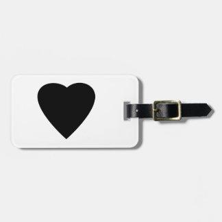 Diseño blanco y negro del corazón del amor etiqueta para equipaje