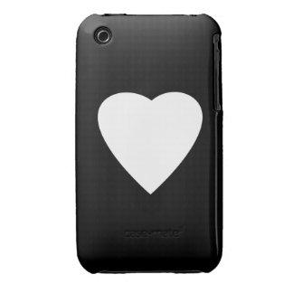 Diseño blanco y negro del corazón del amor iPhone 3 protector