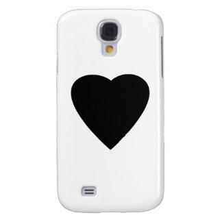 Diseño blanco y negro del corazón del amor funda para galaxy s4