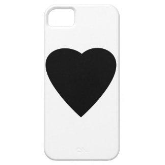 Diseño blanco y negro del corazón del amor iPhone 5 cárcasas
