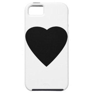 Diseño blanco y negro del corazón del amor iPhone 5 cobertura