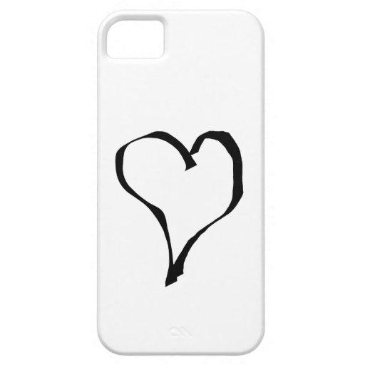 Diseño blanco y negro del corazón del amor funda para iPhone SE/5/5s