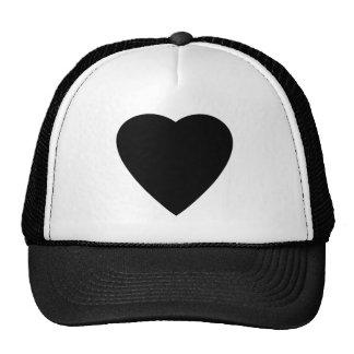 Diseño blanco y negro del corazón del amor gorro de camionero