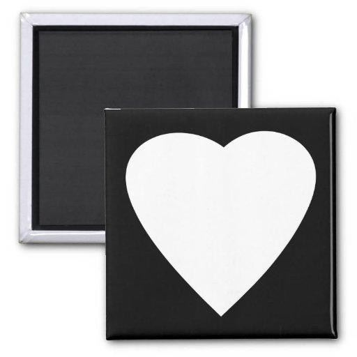 Diseño blanco y negro del corazón del amor imán cuadrado