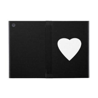 Diseño blanco y negro del corazón del amor iPad mini carcasa