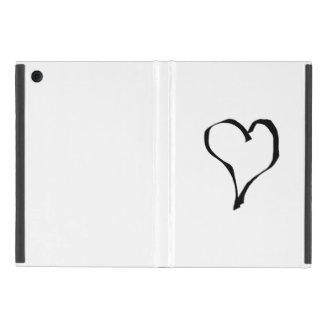 Diseño blanco y negro del corazón del amor iPad mini cobertura