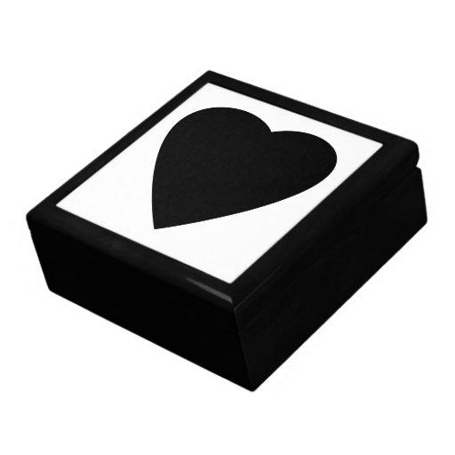 Diseño blanco y negro del corazón del amor joyero cuadrado grande