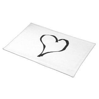 Diseño blanco y negro del corazón del amor mantel individual
