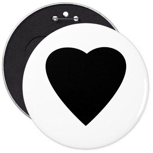 Diseño blanco y negro del corazón del amor pin redondo 15 cm