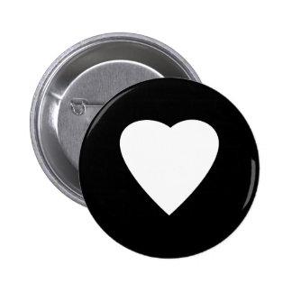Diseño blanco y negro del corazón del amor pin
