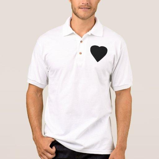 Diseño blanco y negro del corazón del amor camiseta