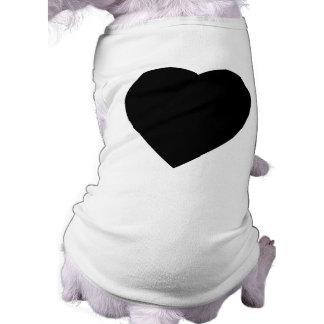 Diseño blanco y negro del corazón del amor playera sin mangas para perro