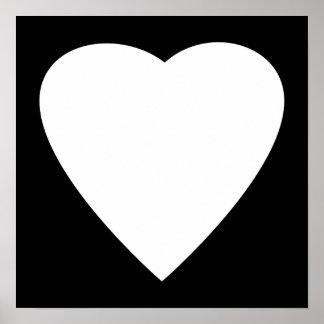 Diseño blanco y negro del corazón del amor póster