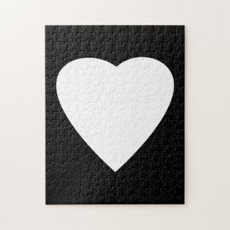 Diseño blanco y negro del corazón del amor puzzle