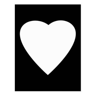 Diseño blanco y negro del corazón del amor postal