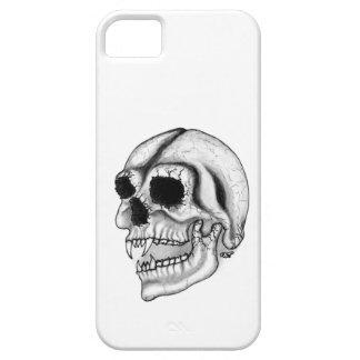 Diseño blanco y negro del cráneo del vampiro funda para iPhone 5 barely there