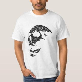 Diseño blanco y negro del cráneo playera