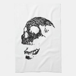 Diseño blanco y negro del cráneo toalla de mano