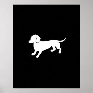 Diseño blanco y negro del Dachshund Póster