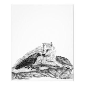 Diseño blanco y negro del lobo y del cuervo tarjetas publicitarias