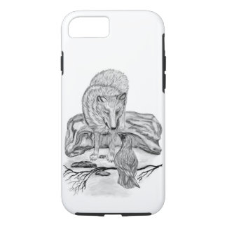 Diseño blanco y negro del lobo y del cuervo funda iPhone 7