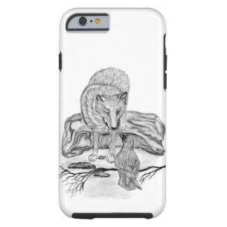 Diseño blanco y negro del lobo y del cuervo funda resistente iPhone 6