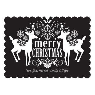 """Diseño blanco y negro del navidad invitación 5"""" x 7"""""""
