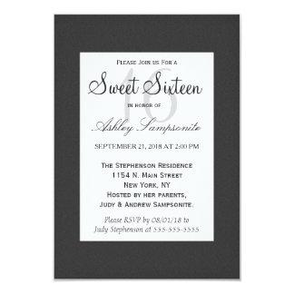 """Diseño blanco y negro elegante simple invitación 3.5"""" x 5"""""""