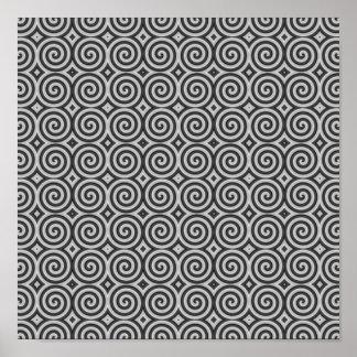 Diseño blanco y negro. Modelo de espirales Póster