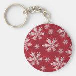 Diseño blanco y rojo del copo de nieve llavero personalizado
