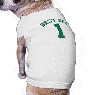 Diseño blanco y verde oscuro del jersey de los playera sin mangas para perro