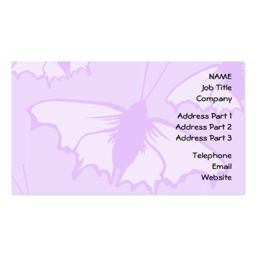 Diseño bonito de la mariposa en púrpura en colores tarjetas de visita