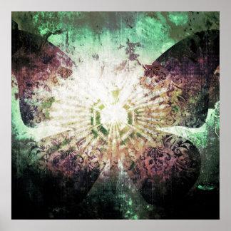 Diseño bonito de las alas de la mariposa de la póster