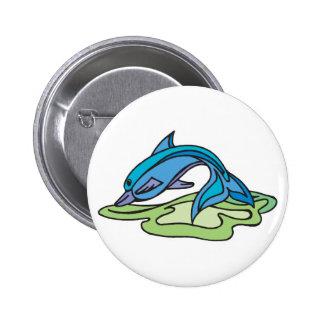 diseño bonito del delfín de la turquesa pin redondo de 2 pulgadas