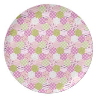 Diseño bonito del edredón de remiendo del verde de platos para fiestas