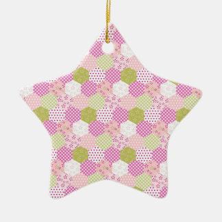 Diseño bonito del edredón de remiendo del verde adorno de cerámica en forma de estrella